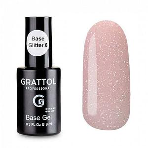 Baza hybrydowa Grattol Rubber Base Glitter 6 9 ml 1